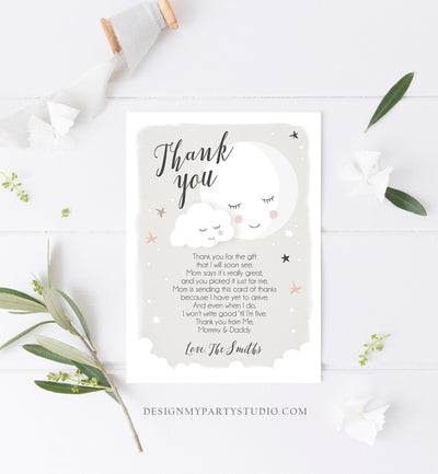 Editable Thank You Card Baby Shower Loved to the Moon and Back Stars Thank You Gender Neutral Sprinkle Template Instant Download Corjl 0113