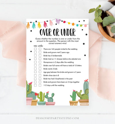 Editable Over or Under Bridal Shower Game Cactus Fiesta Mexican Coed Shower Games Succulent Wedding Activity Corjl Template Printable 0254