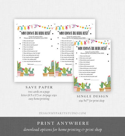 Editable Who Knows the Bride Best Bridal Shower Game Cactus Fiesta Mexican Coed Shower Games Wedding Activity Corjl Template Printable 0254