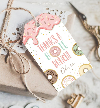 Editable Donut Favor Tags Tags Donut Birthday Donut Thank you tags A hole bunch Birthday Girl Pink Donut tags Pastel PRINTABLE Corjl 0320