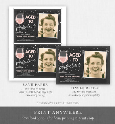 Editable Aged to Perfection Birthday Invitation Wine Adult Birthday Invite Rustic Surprise Blush Pink Download Printable Template Corjl 0252