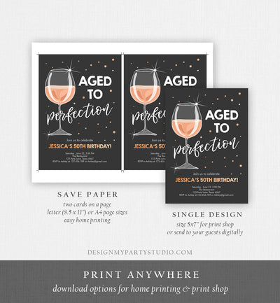 Editable Aged to Perfection Birthday Invitation Wine Adult Birthday Invite Rustic Surprise Gold Pink Download Printable Template Corjl 0252