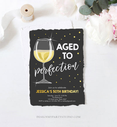Editable Aged to Perfection Birthday Invitation Wine Adult Birthday Invite Rustic Surprise Confetti Download Printable Template Corjl 0252