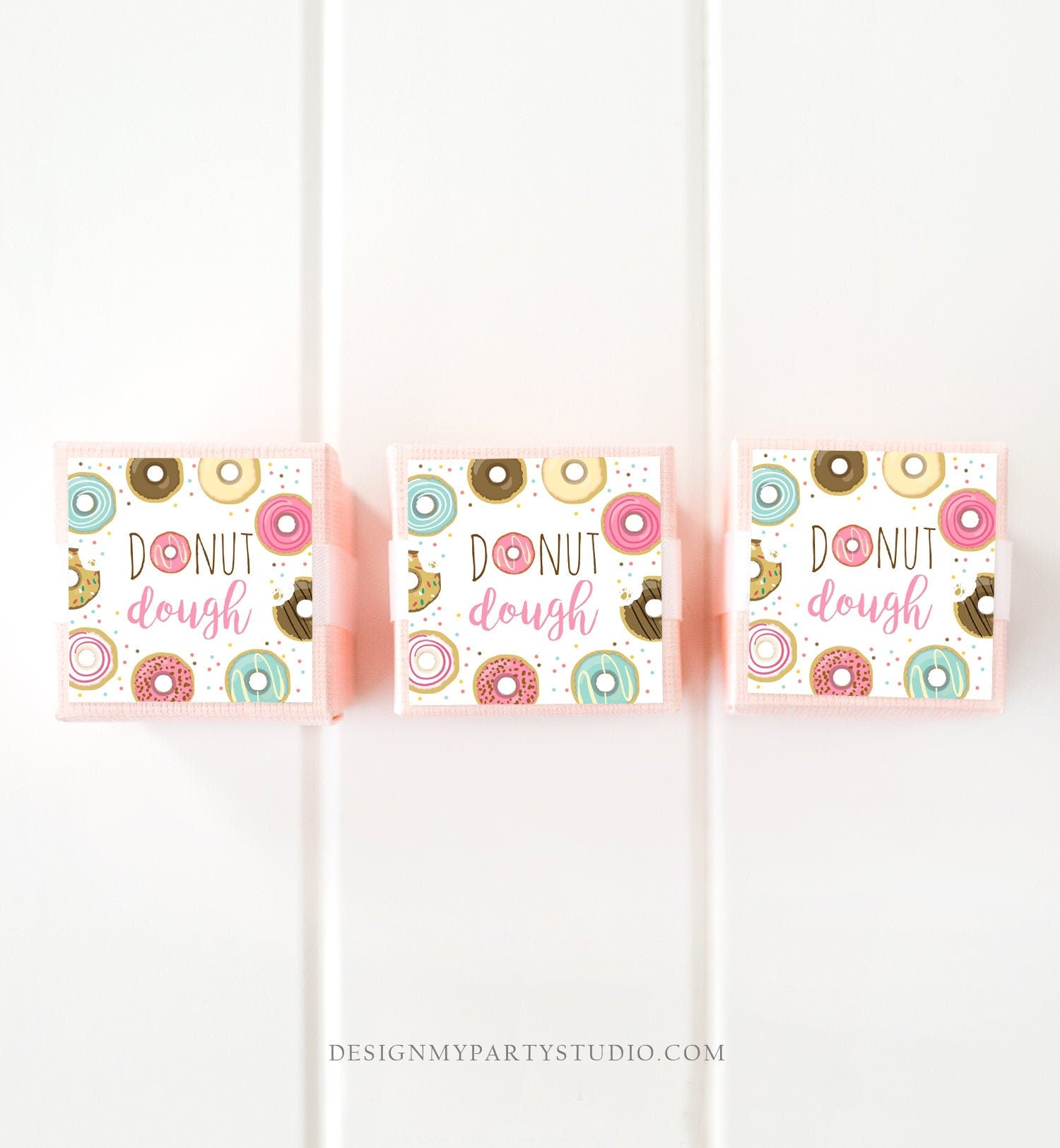 Editable Donut Dough Favor Tags Donut Birthday Thank You Tag Donut Stickers Girl Pink Thanks a Hole Bunch Donut Tags Template Corjl 0050