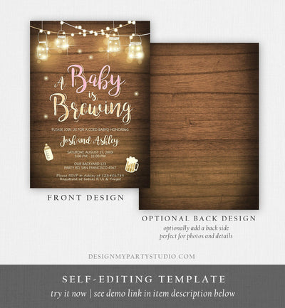 Editable A Baby is Brewing Invitation Bottle and Beers Baby Shower BaByQ BBQ Coed Couples Shower Girl Download Printable Template Corjl 0015