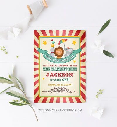 Editable Carnival Invitation Circus Birthday Invitation Carnival Invite Big Top Birthday Boy Vintage Printable Template Digital Corjl 0013