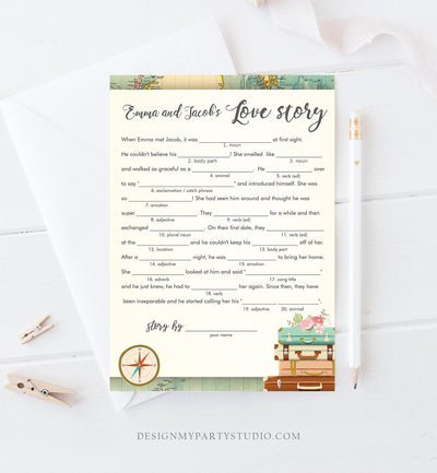 Editable Love Story Bridal Shower Game Travel Mad Libs Wedding Shower Activity Suitcases Vintage Map Party Corjl Template Printable 0044