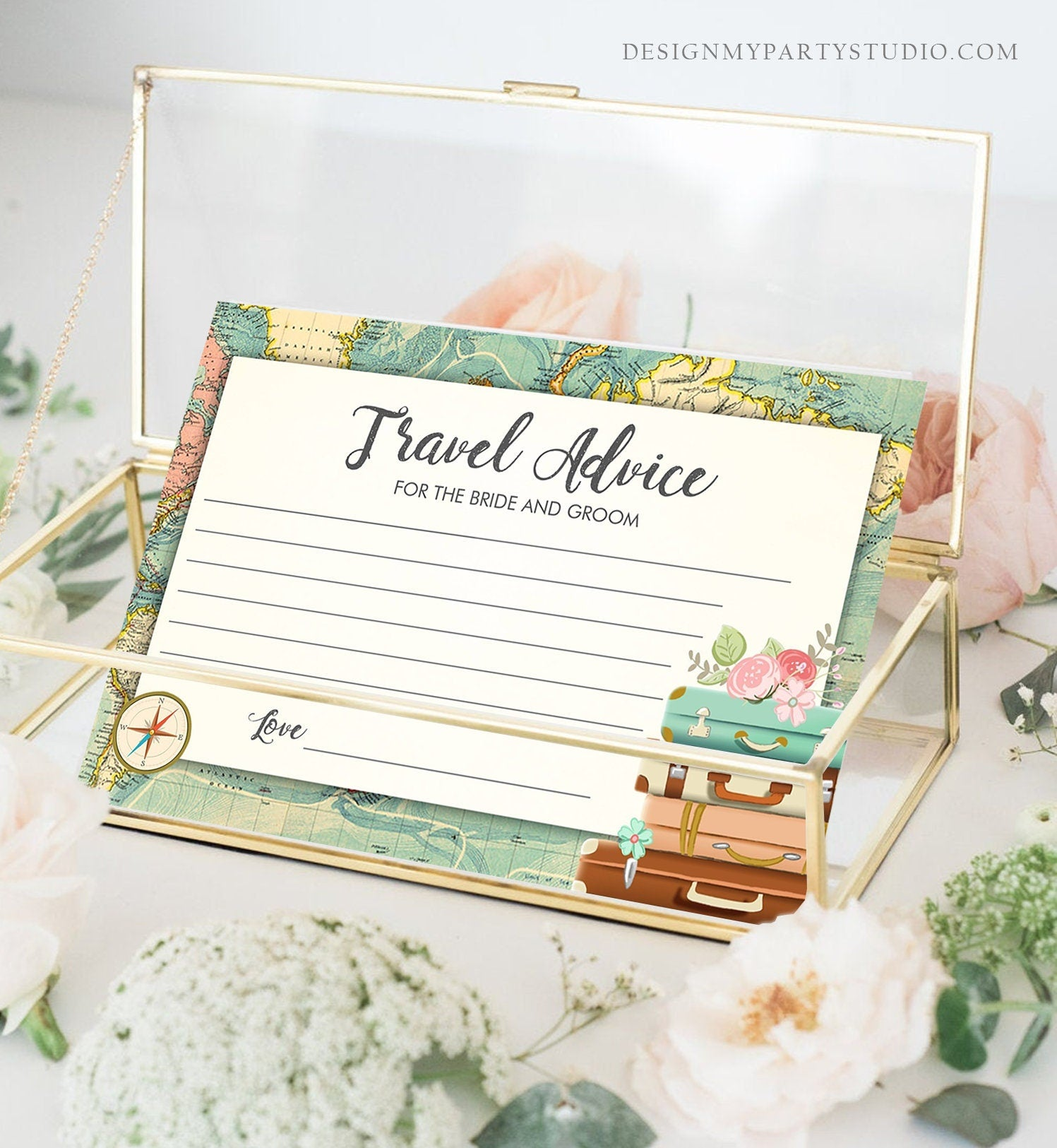 Editable Advice for the Bride-to-Be Card Bridal Shower Travel Words of Wisdom Advice for Bride Game Adventure Suitcases Corjl Template 0044
