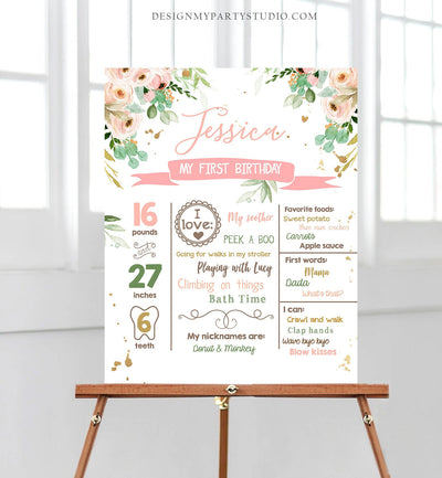 Editable Floral Birthday Milestones Sign Wild One Birthday First Birthday 1st Birthday Girl Onederful Boho Corjl Template Printable 0147