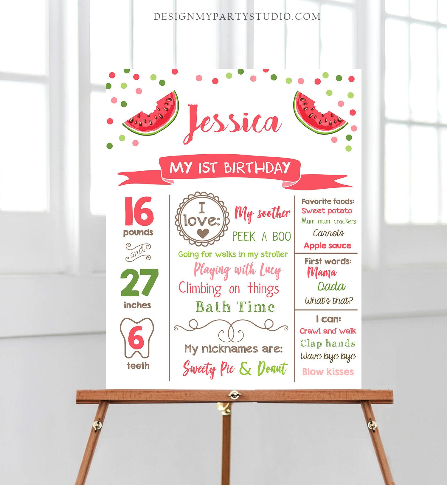 Editable Watermelon Birthday Milestone Sign First Birthday 1st Girl Pink Red One in a Melon Party Summer Fruit Poster Corjl Template 0120