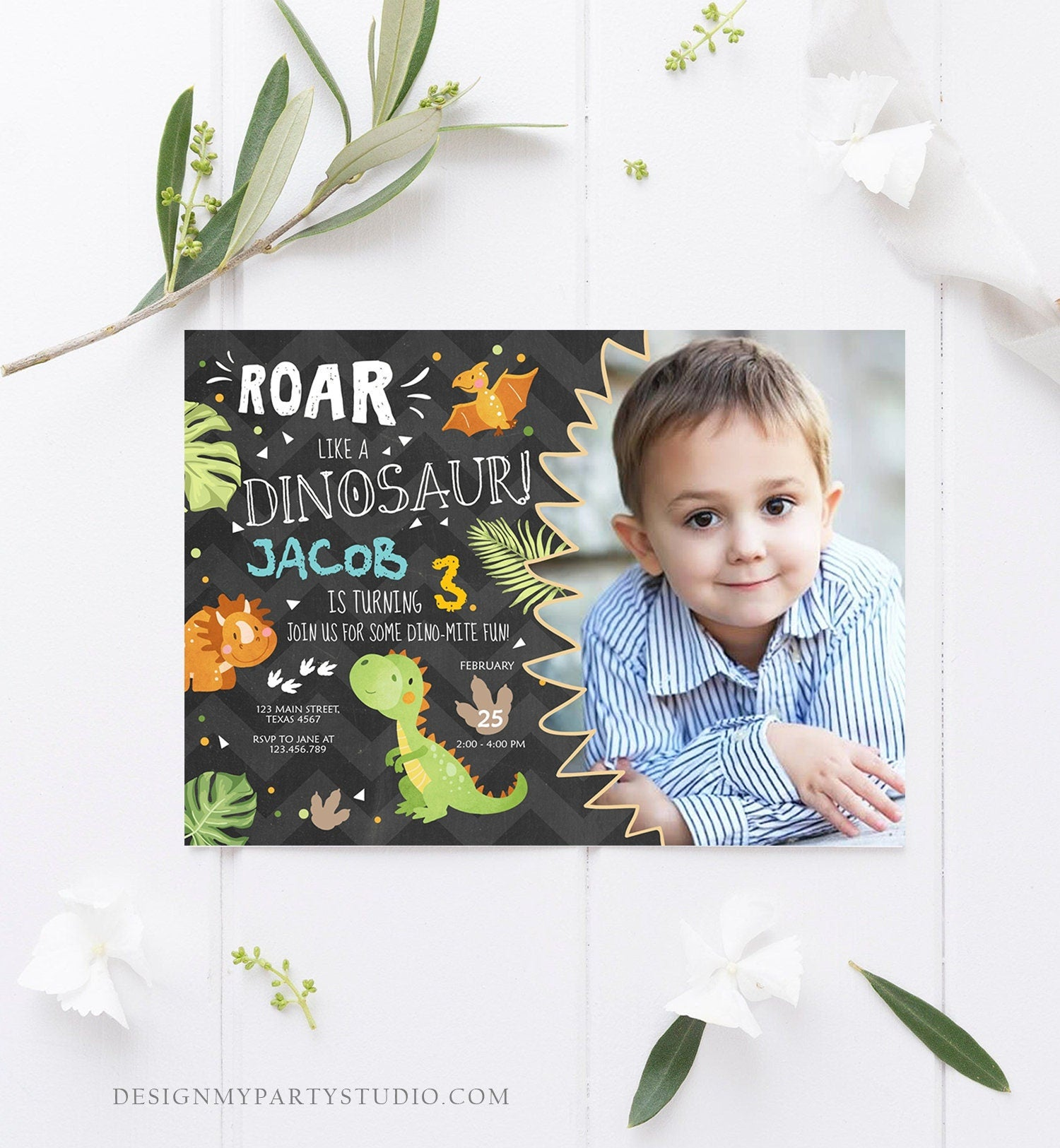 Editable Dinosaur Birthday Invitation Dino Dig Party Prehistoric Boy T-Rex Roar Fossil Party Digital Download Printable Template Corjl 0283