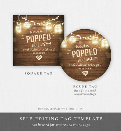 Editable Popped the Question Gift Tag Engagement Party Round Square Favor Tag Popcorn Sticker Bridal Shower Wedding Corjl Template 0015 0110