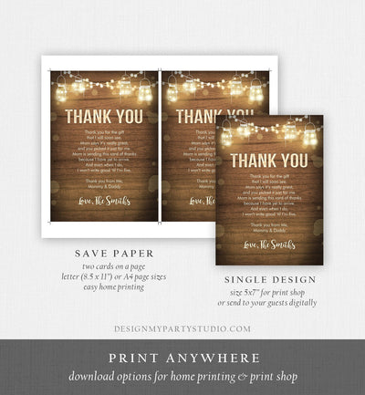 Editable Rustic Wood Thank You Card Baby Shower Bridal Shower Birthday Insert Card Note String Lights Download Corjl Template Printable 0015