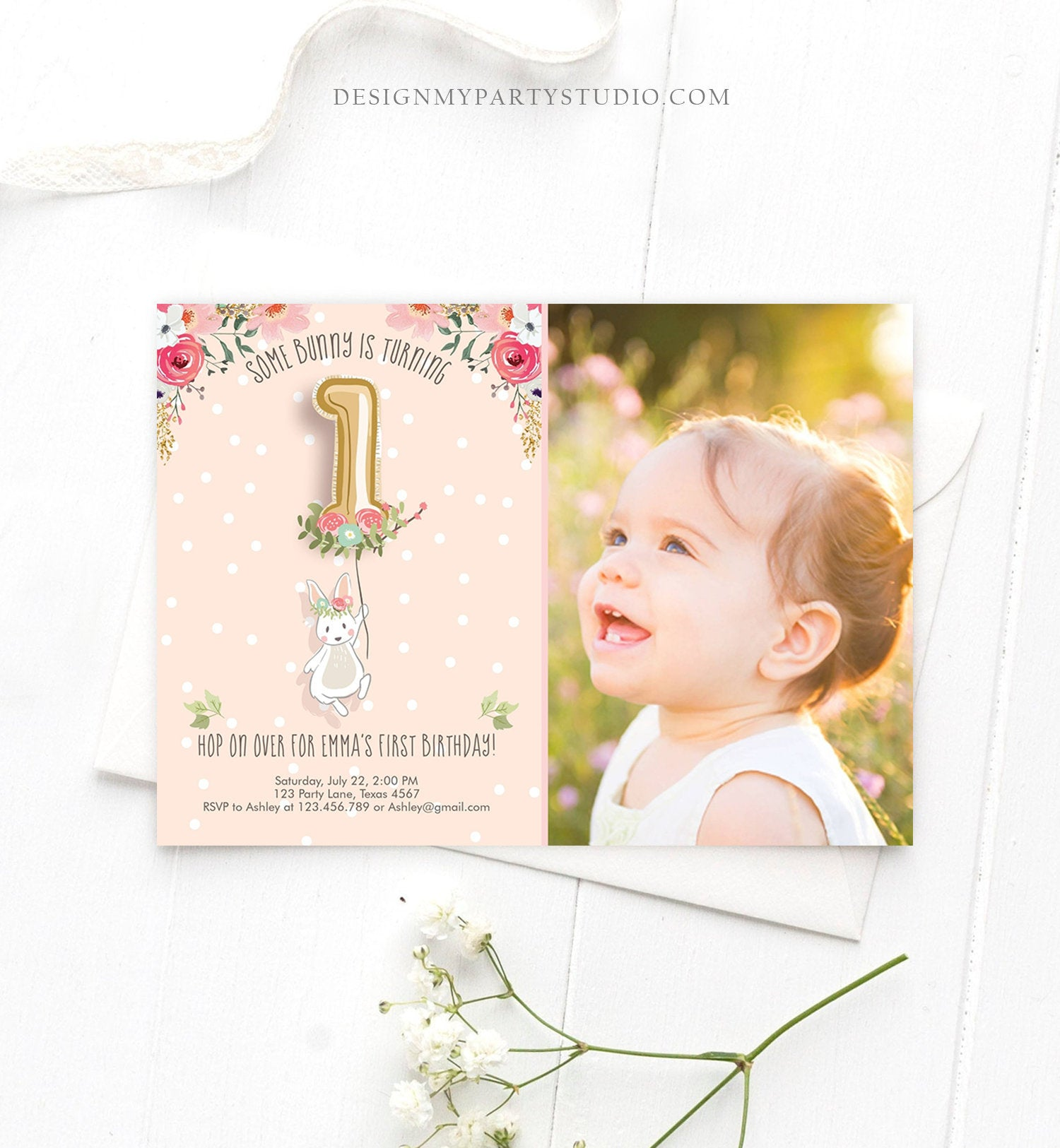 Editable Bunny Birthday Invitation Girl 1st Birthday Pink Gold Floral Bunny Spring Birthday Blush Printable Template Download Corjl 0117