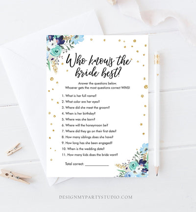 Editable Who Knows the Bride Best Bridal Shower Game Wedding Shower Activity Floral Blue Gold Confetti Corjl Template Printable 0030