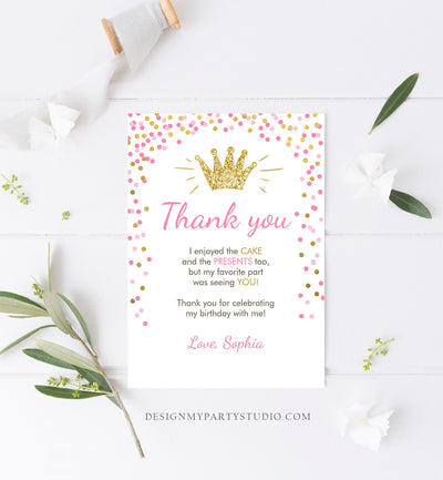 Editable Princess Thank You Card Girl Pink Gold Crown Birthday Thank You Note Royal First Birthday Digital Corjl Template Printable 0047