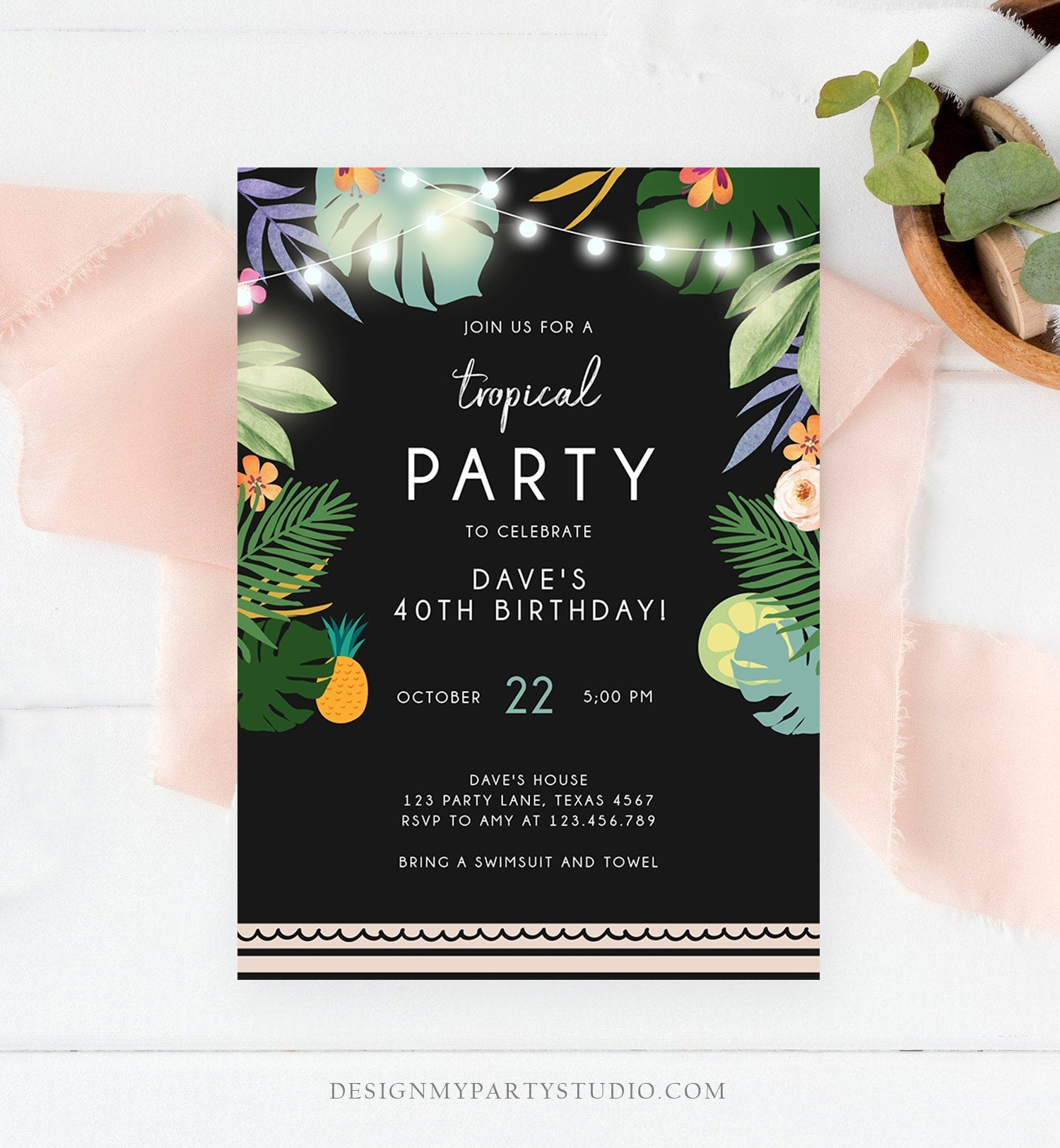 Editable Tropical Birthday Invitation Tropical Party Adult Birthday Man Woman Palm Leaves Hawaiian Download Printable Template Corjl 0183
