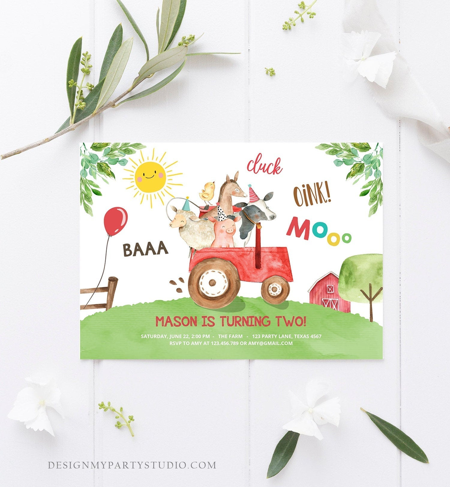 Editable Farm Birthday Invitation Boy Farm Animals Red Tractor Leaves Barnyard Party Cow Pig Download Printable Template Digital Corjl 0155