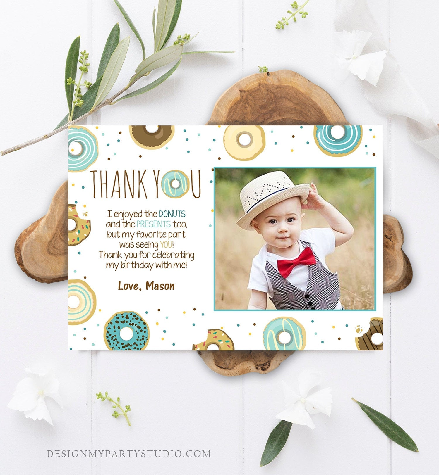 Editable Donut Thank You Card Note Blue Boy Birthday Party Doughnut Thank You Photo Sweet First Birthday 1st Corjl Template Printable 0050
