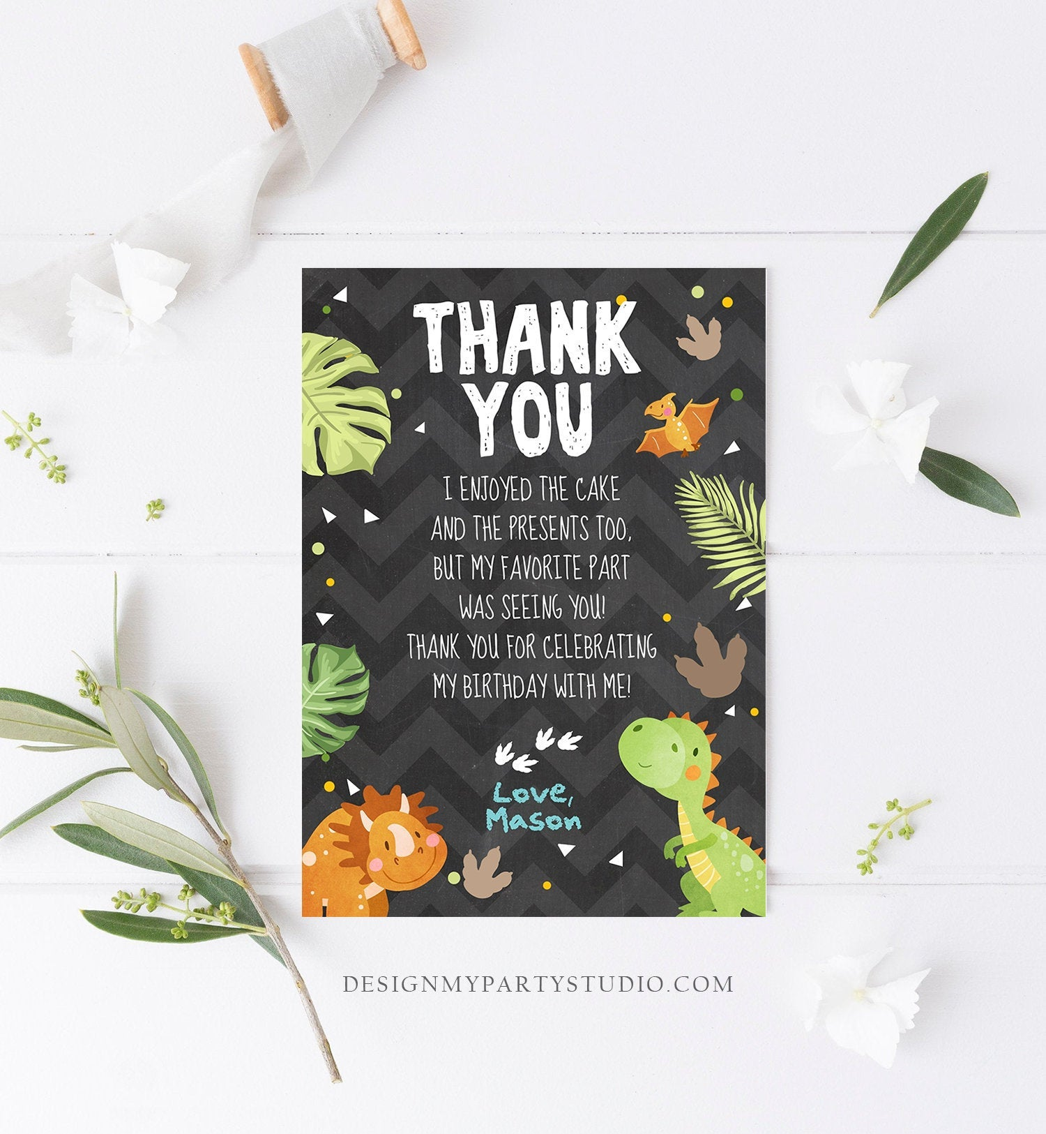 Editable Dinosaur Thank You Card Boy Prehistoric Dino Dig Party T-Rex Fossil Foot Prints Digital Download Printable Template Corjl 0283
