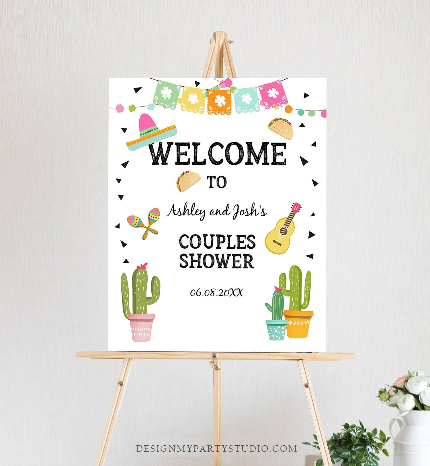 Editable Fiesta Cactus Welcome Sign Couples Shower Welcome Cactus Mexican Succulent Taco Bout Love Succulent Corjl Template Printable 0161