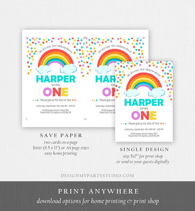 Editable Rainbow Birthday Invitation Kids Girl Boy Neutral Party Clouds Colorful Rainbow Colors Printable Corjl Template Digital 0106