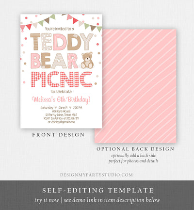 Editable Teddy Bear Picnic Birthday Invitation Girl Pink Red Gingham Bear Picnic Summer Outdoor Party Printable Digital Corjl Template 0100