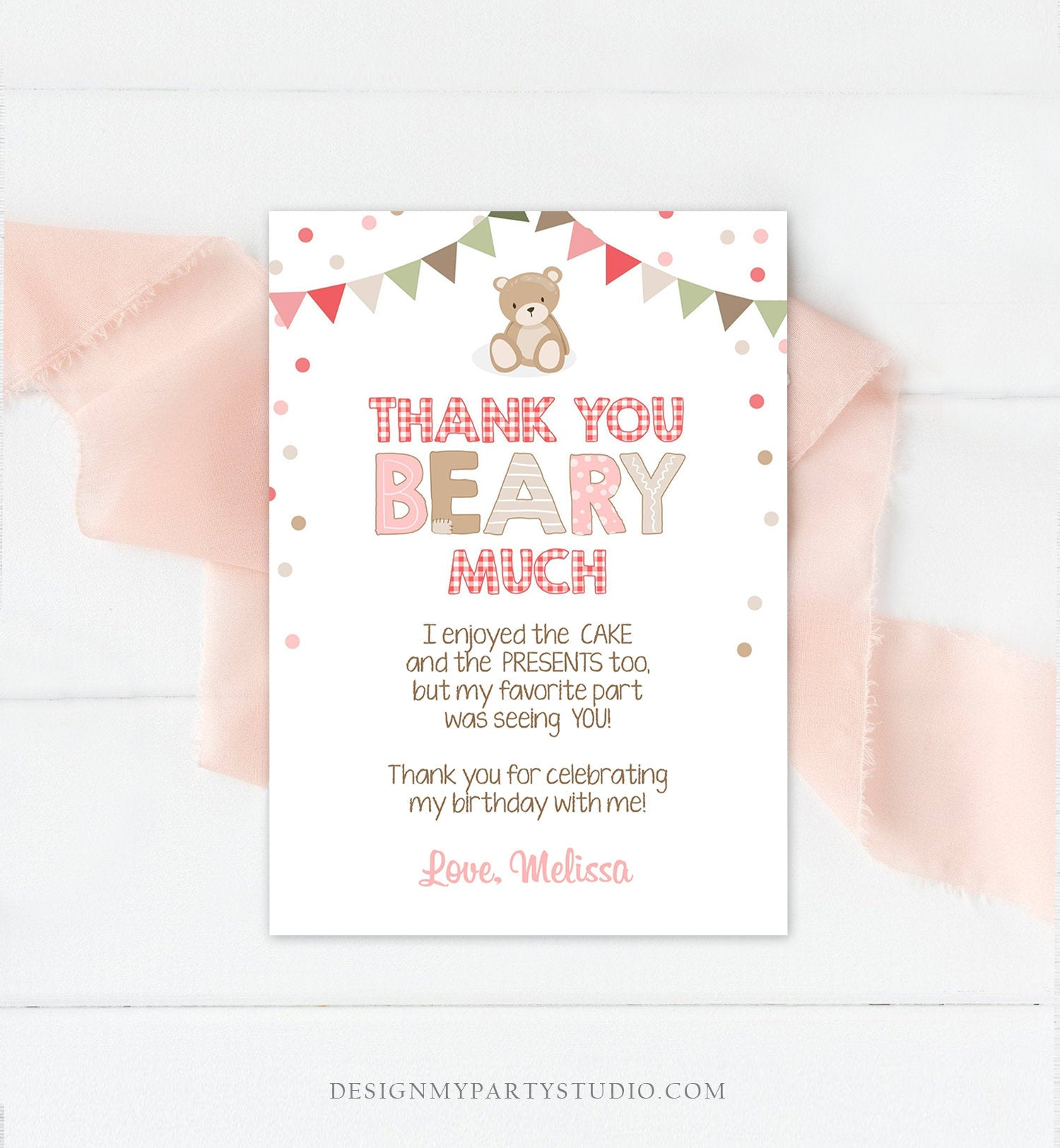 Editable Thank You Card Teddy Bear Birthday Picnic Beary Much Girl Pink Woodland Download Printable Thank You Template Digital Corjl 0100