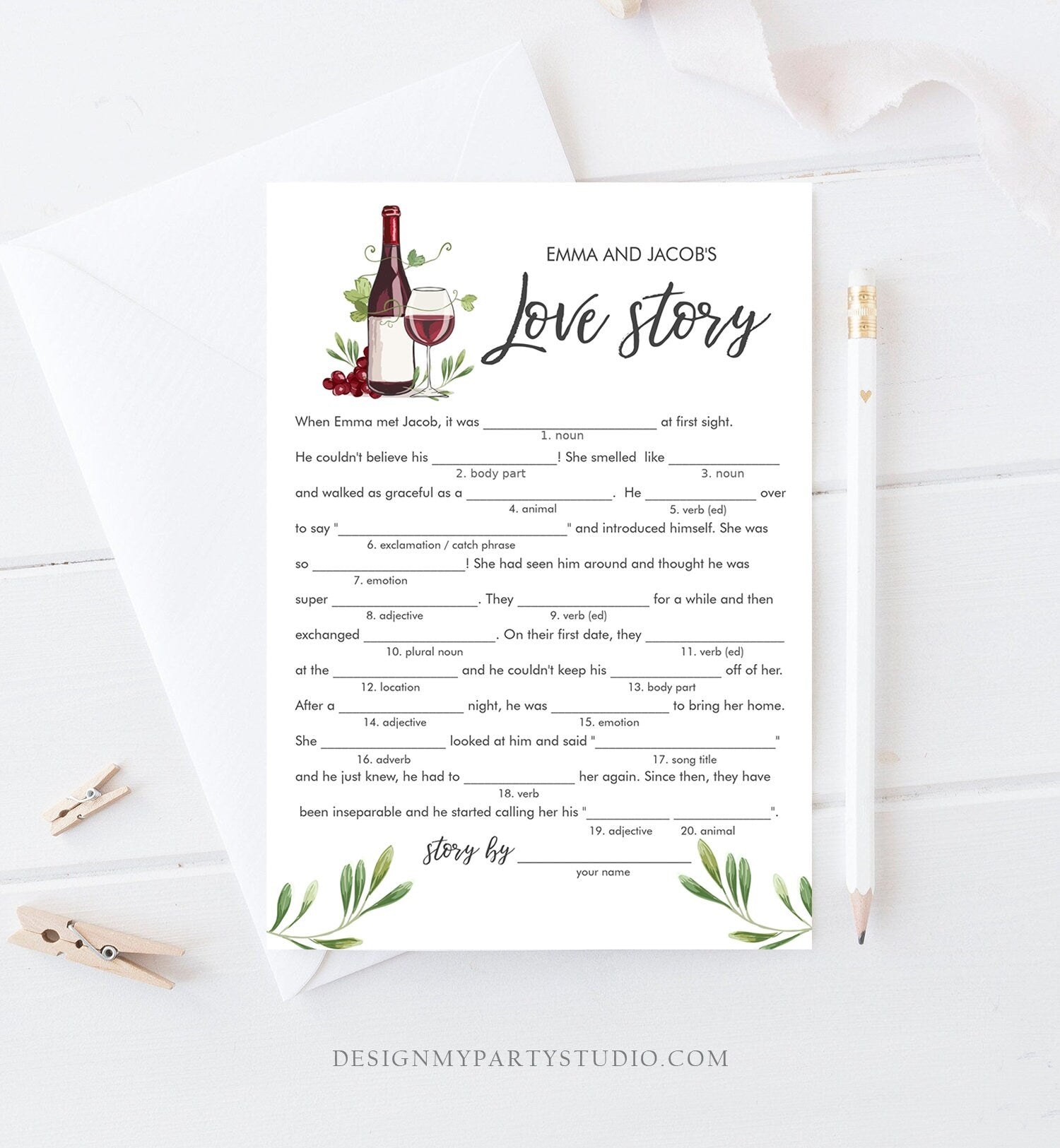 Editable Love Story Bridal Shower Game Wine Tasting Vineyard Grapes Wedding Shower Activity Mad Libs Download Corjl Template Printable 0234