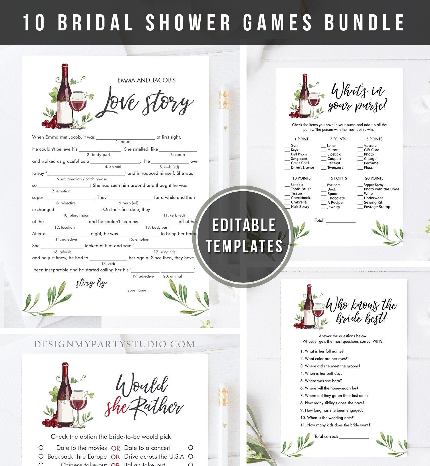 Editable Wine Tasting Bridal Shower Games Bundle Wedding Shower Activity Vineyard Grapes Brunch and Bubbly Corjl Template Printable 0234