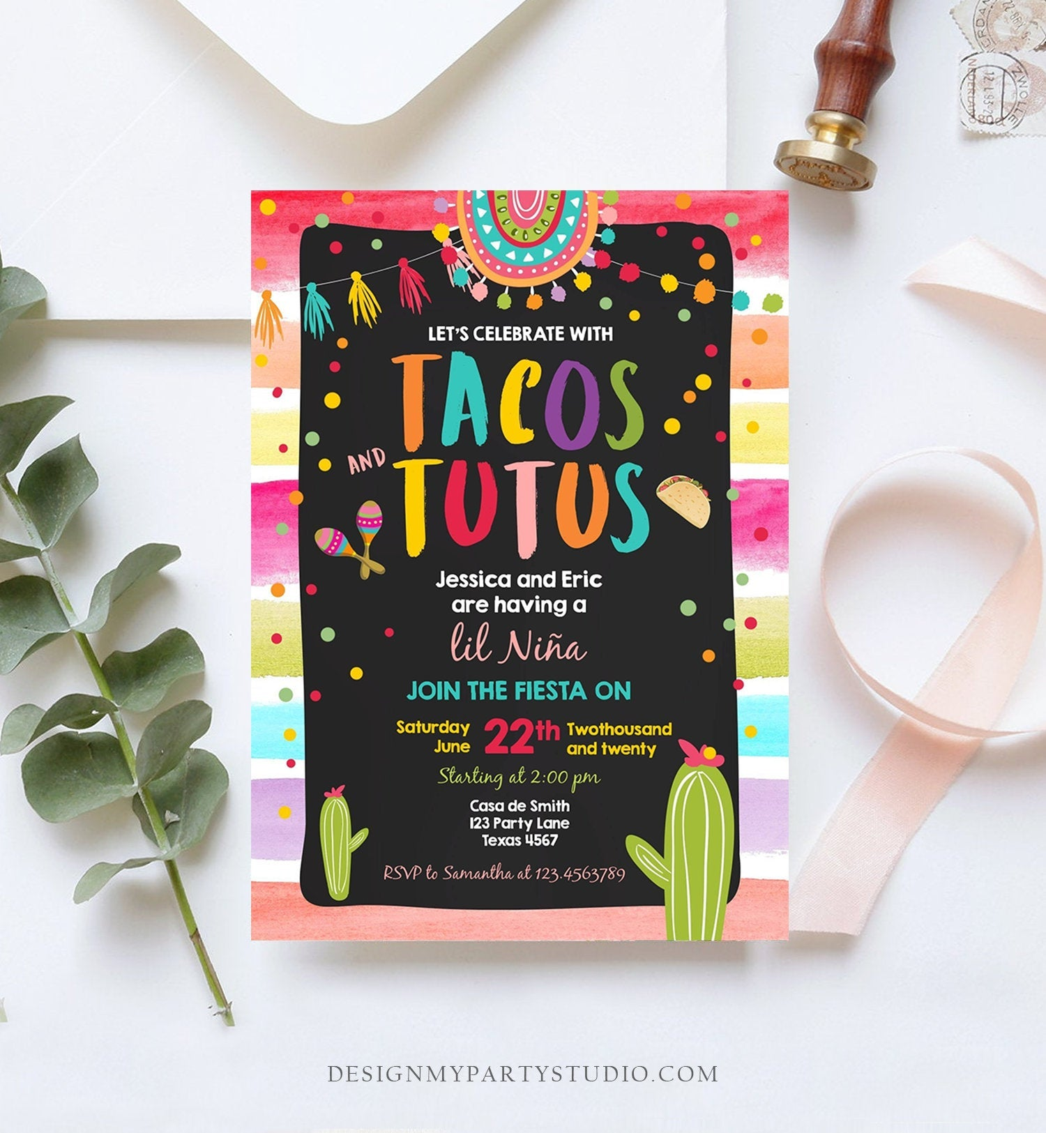 Editable Fiesta Tacos and Tutus Baby Shower Invitation Cactus Mexican Fiesta Couples Shower Taco Sprinkle Corjl Template Printable 0134