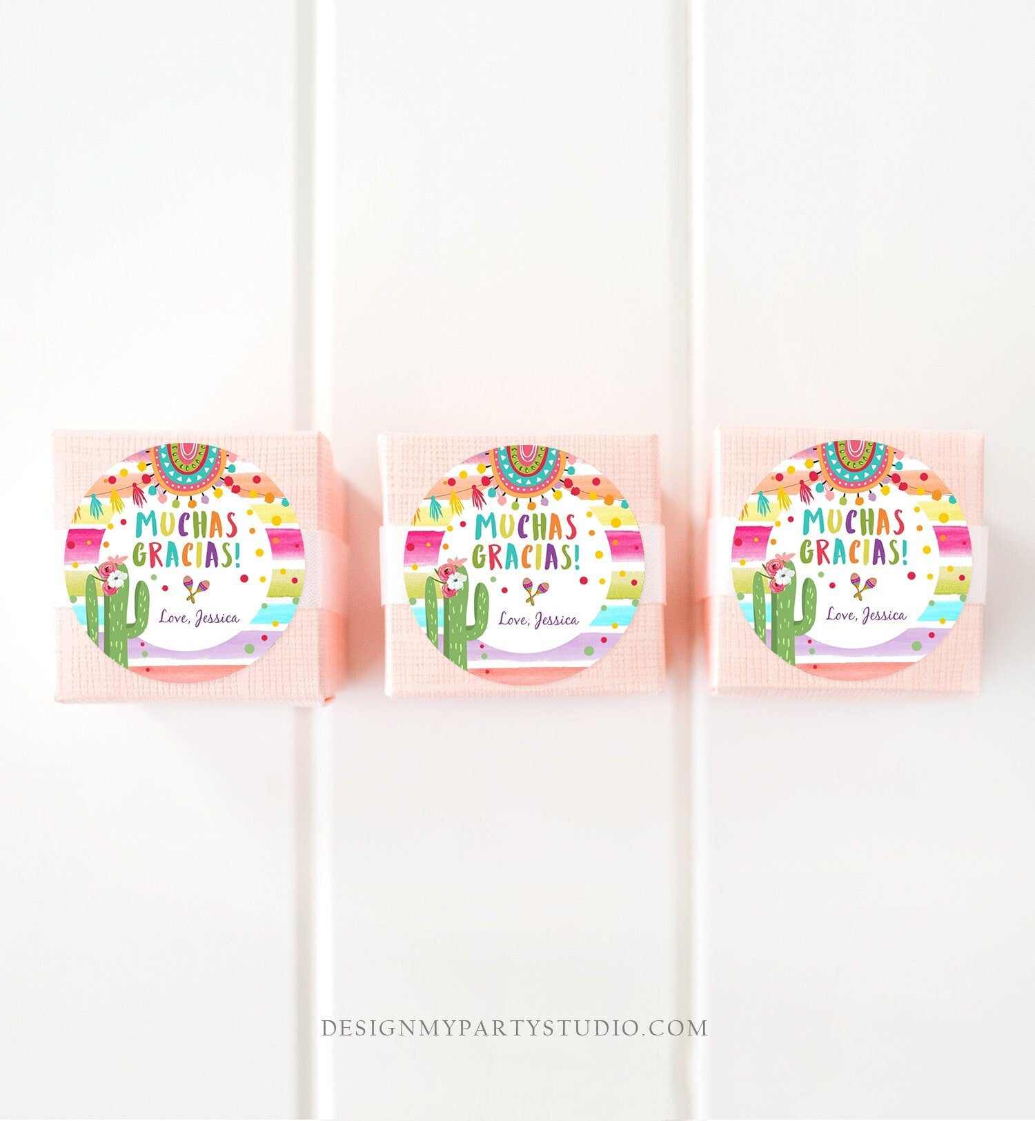 Editable Fiesta Favor Tags Muchas Gracias Thank You Tags Cactus Succulent Mexican Birthday Baby Bridal Shower Taco Bout  Corjl Template 0134