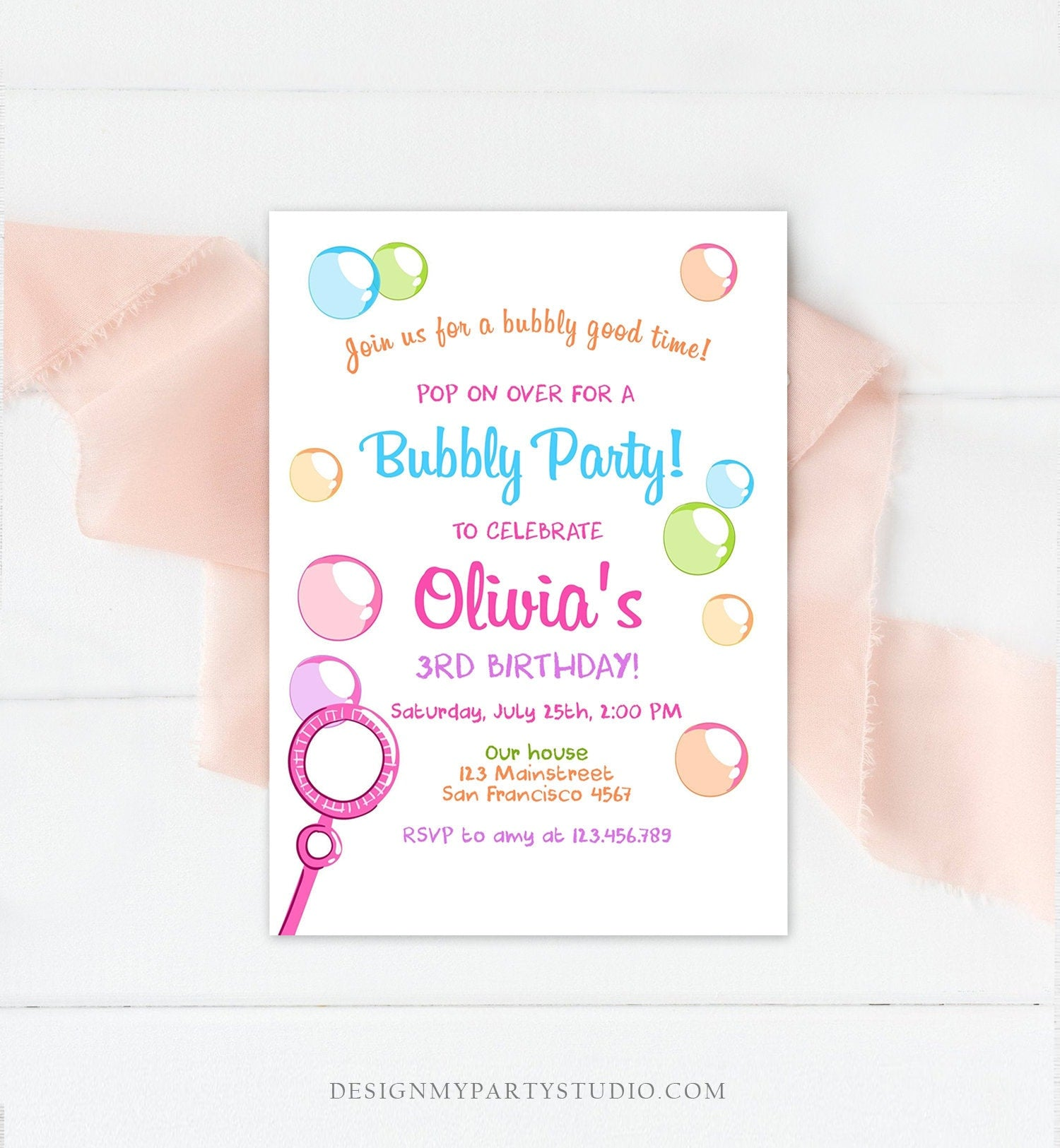 Editable Bubble Birthday Invitation Bubbles Birthday Party Invite Pop Girl Pink Purple Summer Download Printable Template Corjl Digital 0035