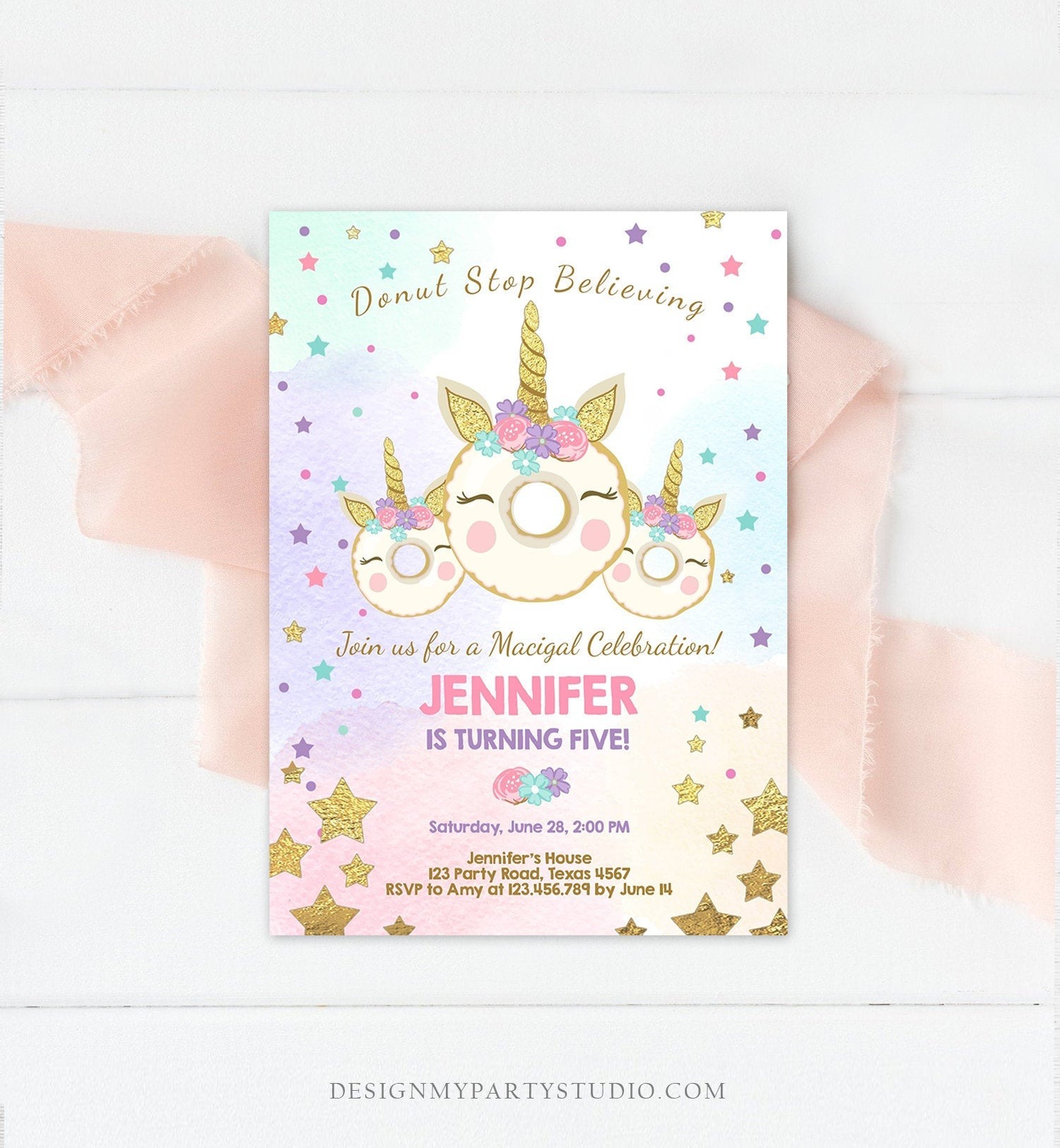 Editable Donut Unicorn Birthday Invitation Donut Stop Believing Magical Rainbow Party Doughnut Girl Pink Gold Corjl Template Printable 0041