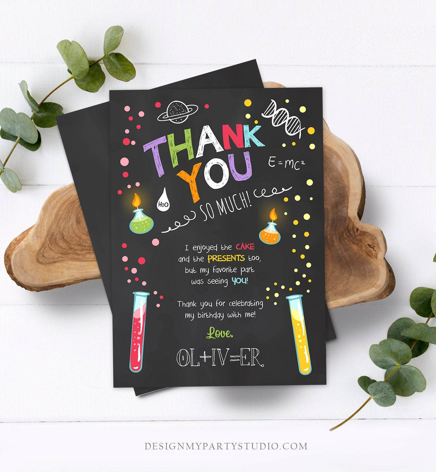 Editable Science Experiment Thank You Card Birthday Boy Party Mad Scientist Lab Slime Party Professor Download Corjl Template Printable 0094