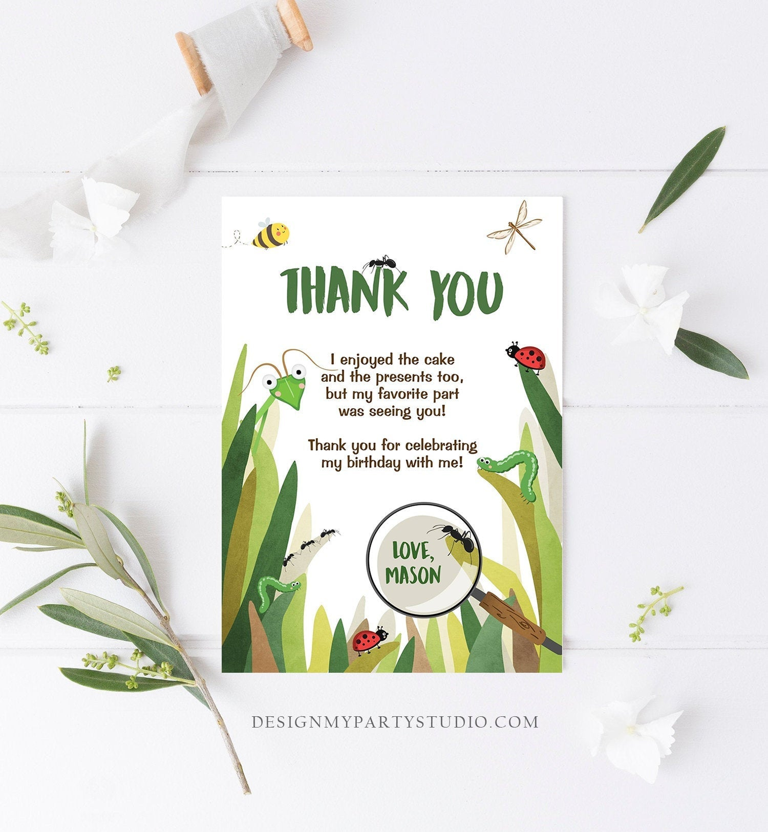 Editable Thank You Card Bug Thank you Note Bug Birthday Insect Party Boy Birthday Thank you Download Printable Template Corjl Digital 0090