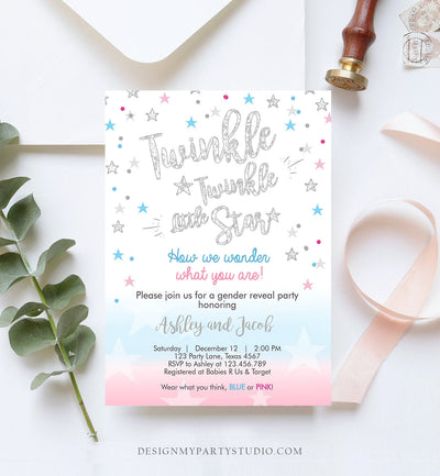 Editable Gender Reveal Invitation Baby Shower Twinkle Twinkle Little Star Blue or Pink He or She Silver Pink Blue Corjl Template 0235