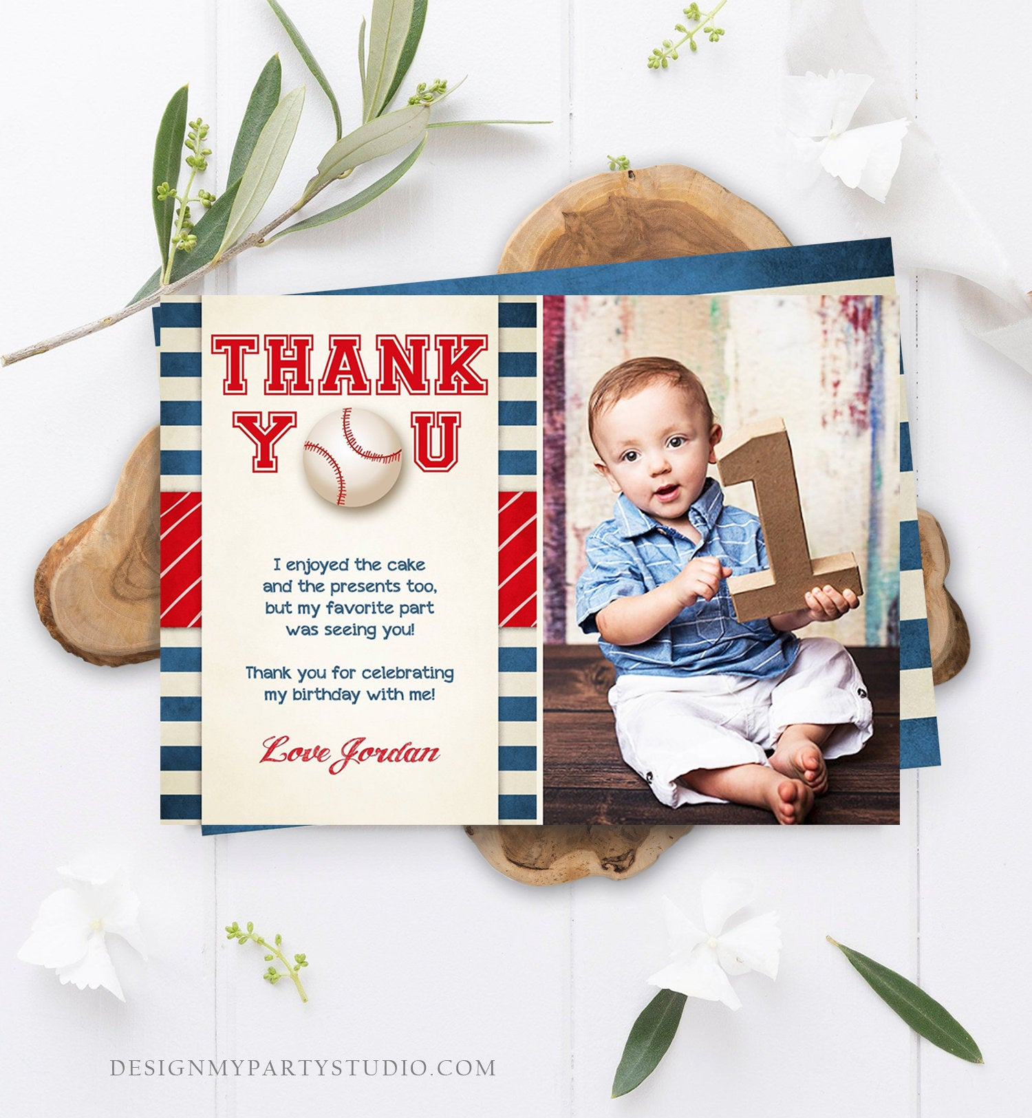 Editable Baseball Thank You Card Birthday Boy Little Slugger Rookie of The Year First 1st Batter Up Download Template Digital Corjl 0069
