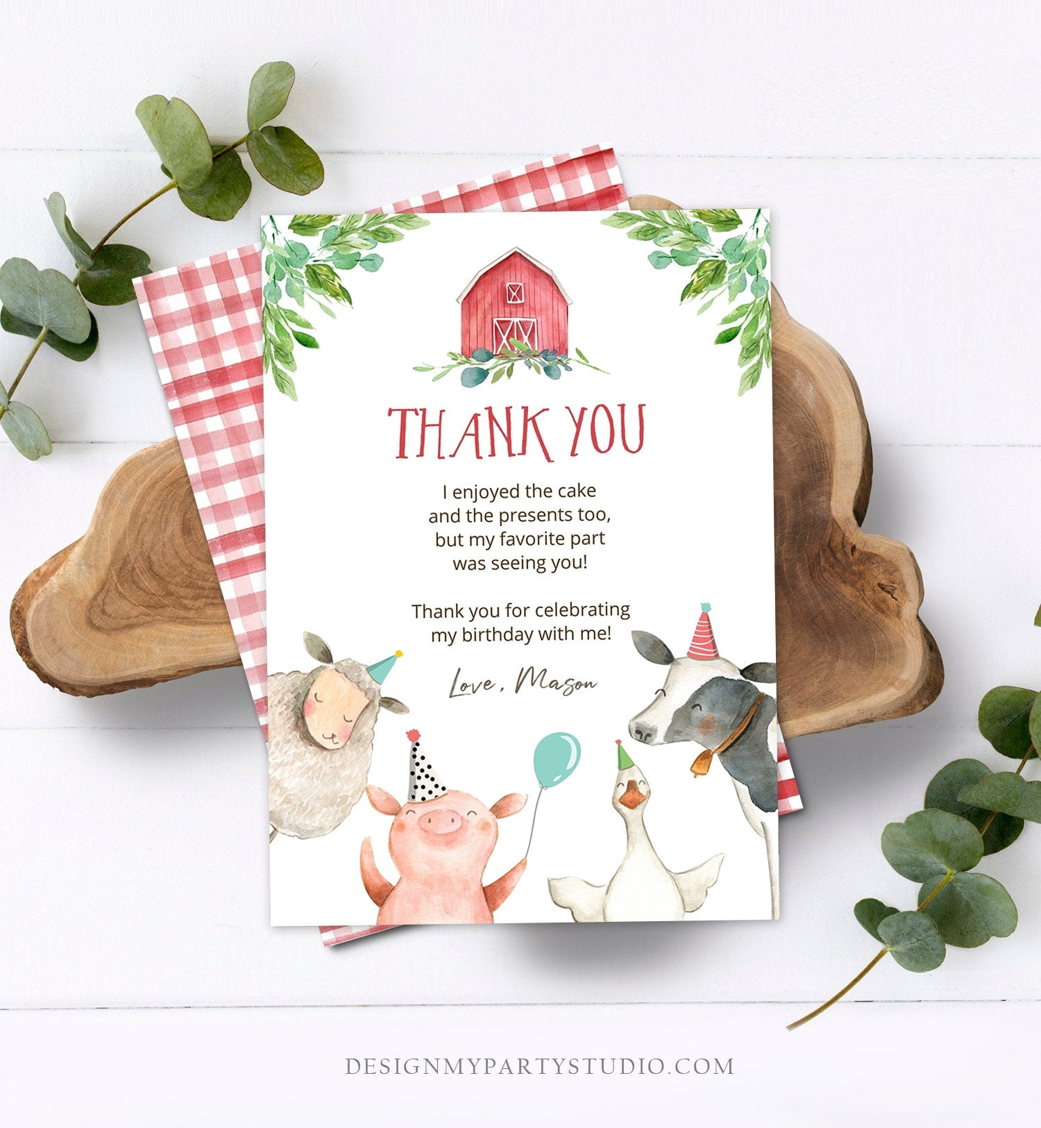 Editable Farm Animals Thank You Card Red Gingham Farm Birthday Boy Barnyard Thank You Card Birthday Corjl Template Instant Download 0155