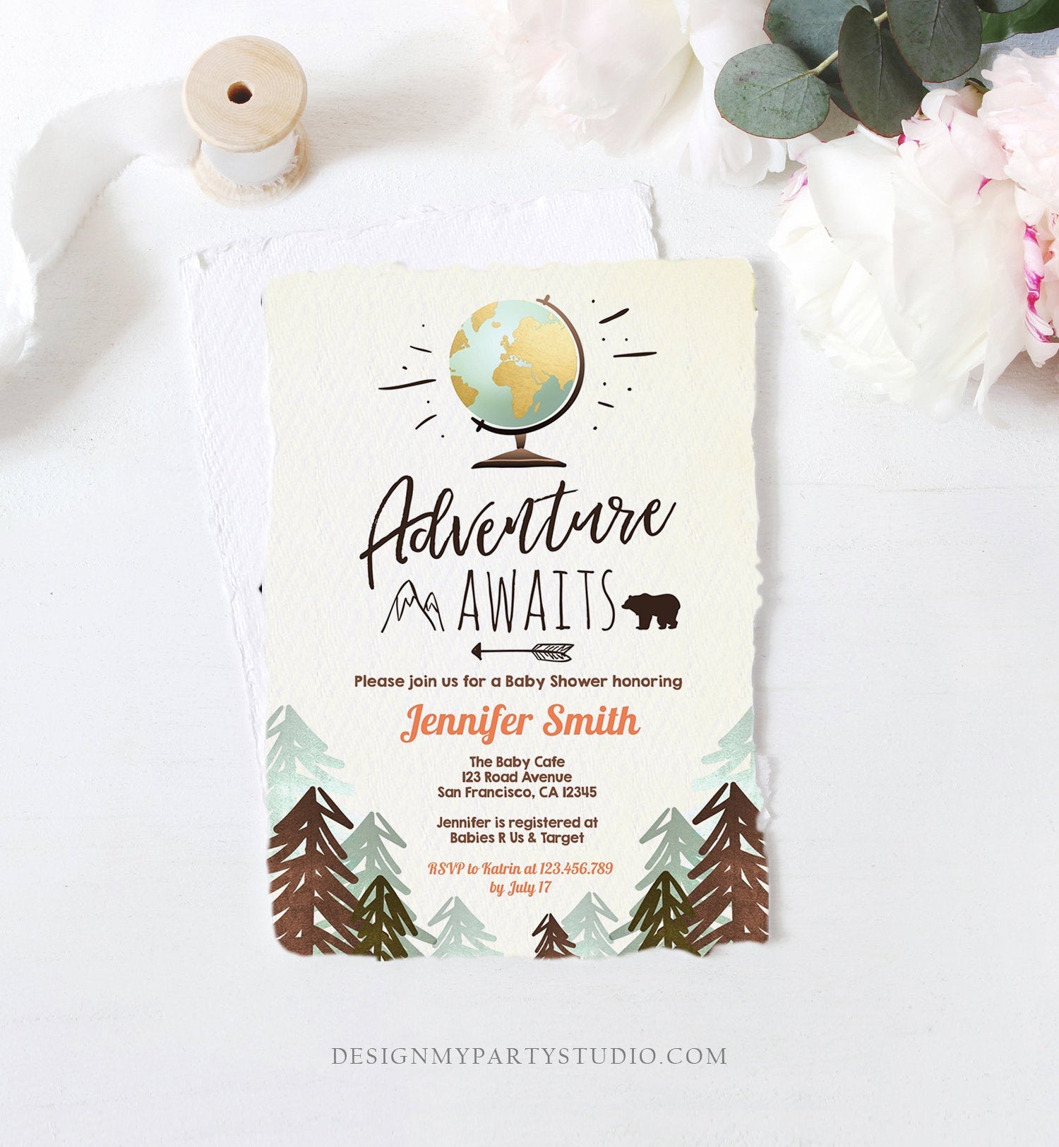 Editable Adventure Awaits Baby Shower Invitation Forest Woodland Vintage Globe Travel Around the World Digital Corjl Template Printable 0044
