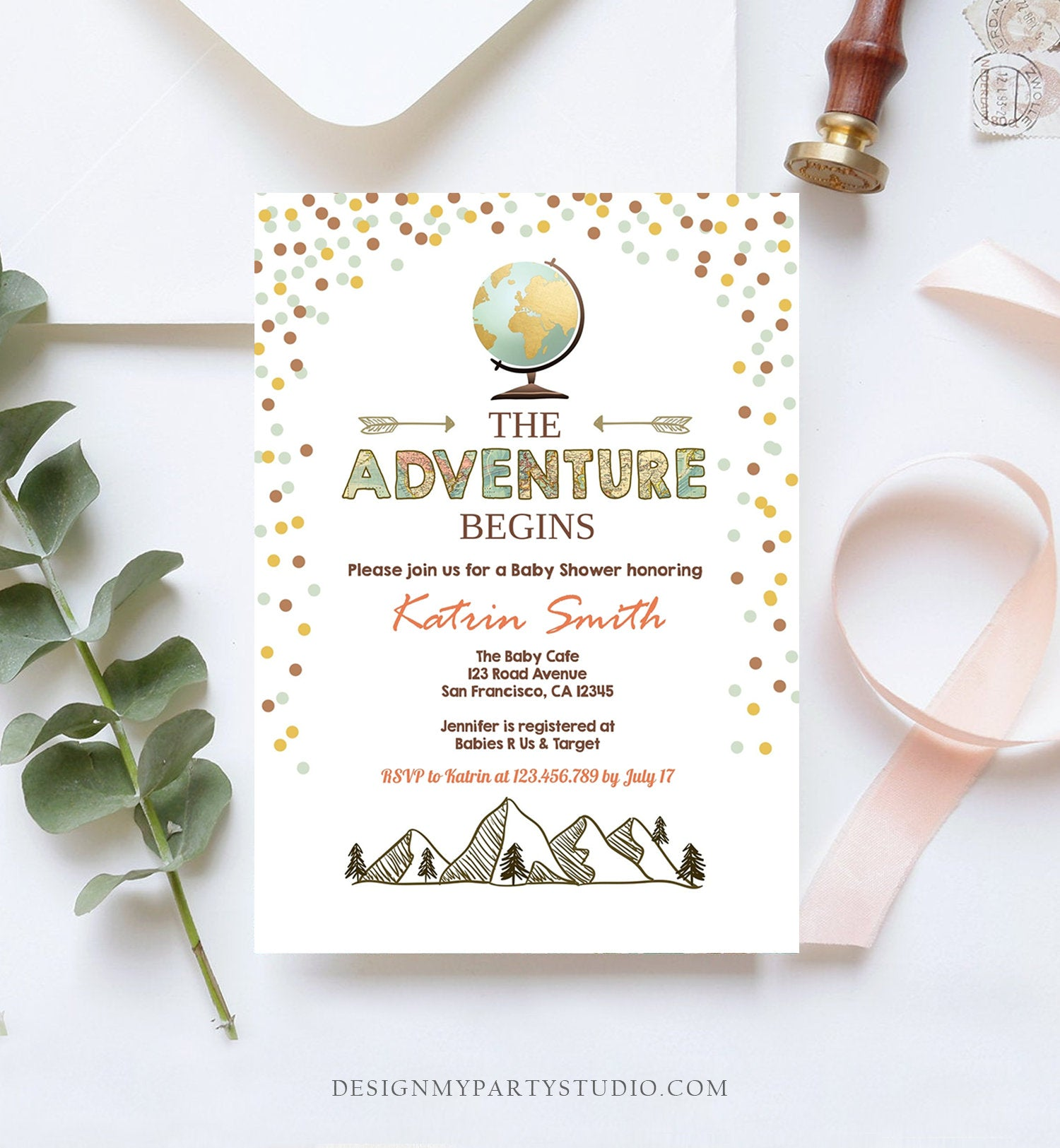 Editable Adventure Begins Baby Shower Invitation Forest Mountains Vintage Globe Travel Around World Digital Corjl Template Printable 0044
