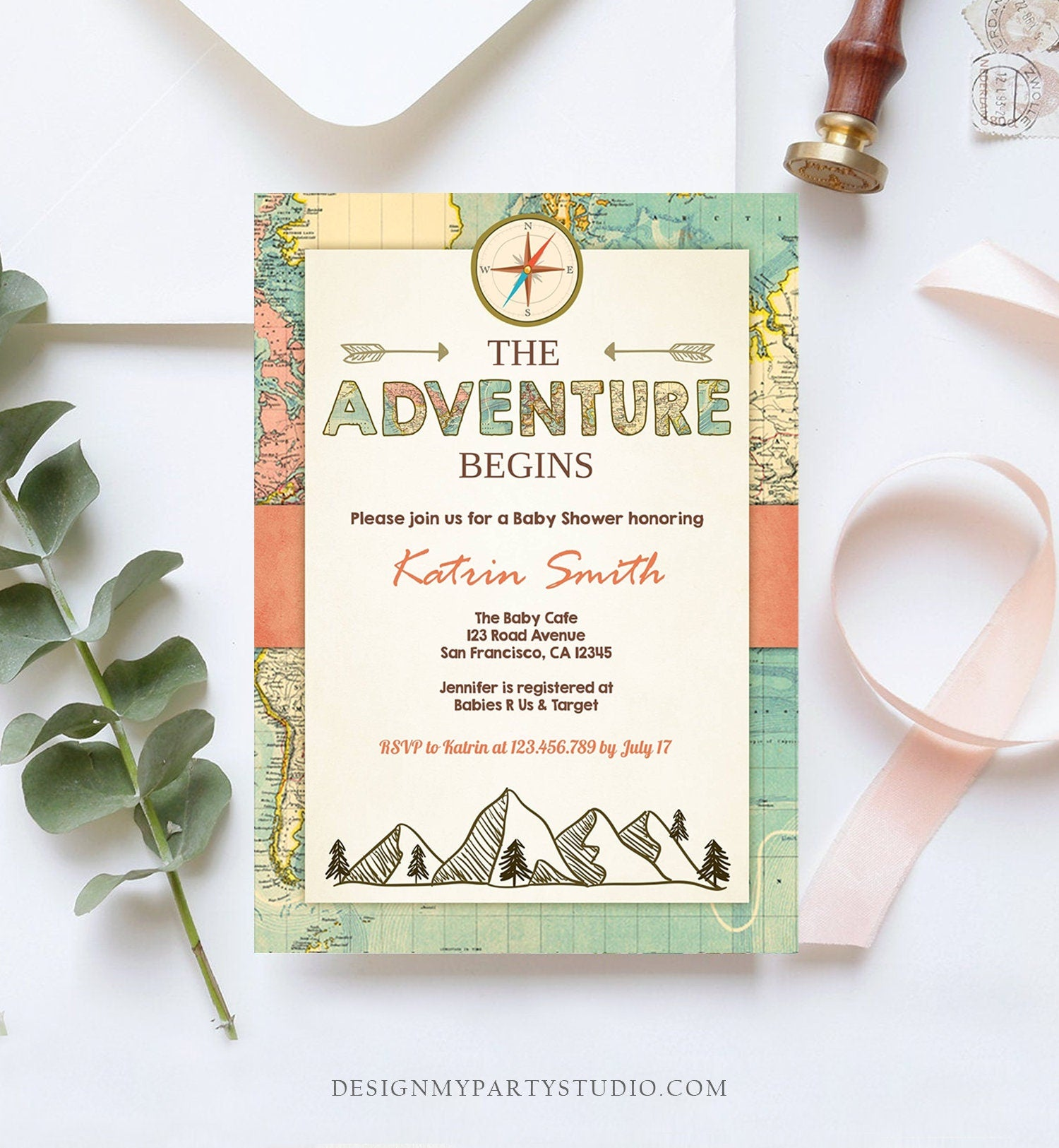 Editable Adventure Begins Baby Shower Invitation Forest Mountains Vintage World Map Travel Around Digital Corjl Template Printable 0044