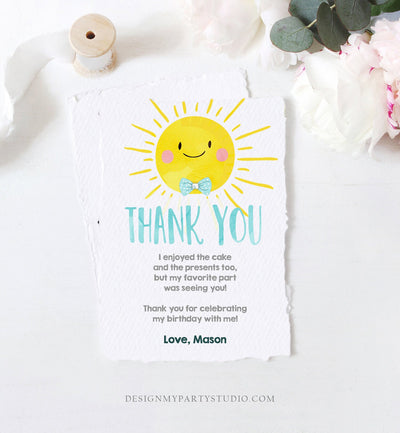 Editable Little Sunshine Thank You Card Birthday Party Blue Boy Bow Baby Shower First Birthday 1st Digital Corjl Template Printable 0141