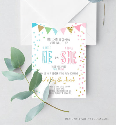 Editable Gender Reveal Invitation Confetti Blue or Pink Gold Boy or Girl He or She Rustic Instant Download Printable Template Corjl 0228