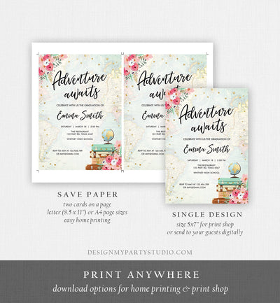Editable Adventure Awaits Graduation Party Invitation Vintage Travel Around the World Pink Gold High School Grad College Corjl Template 0030