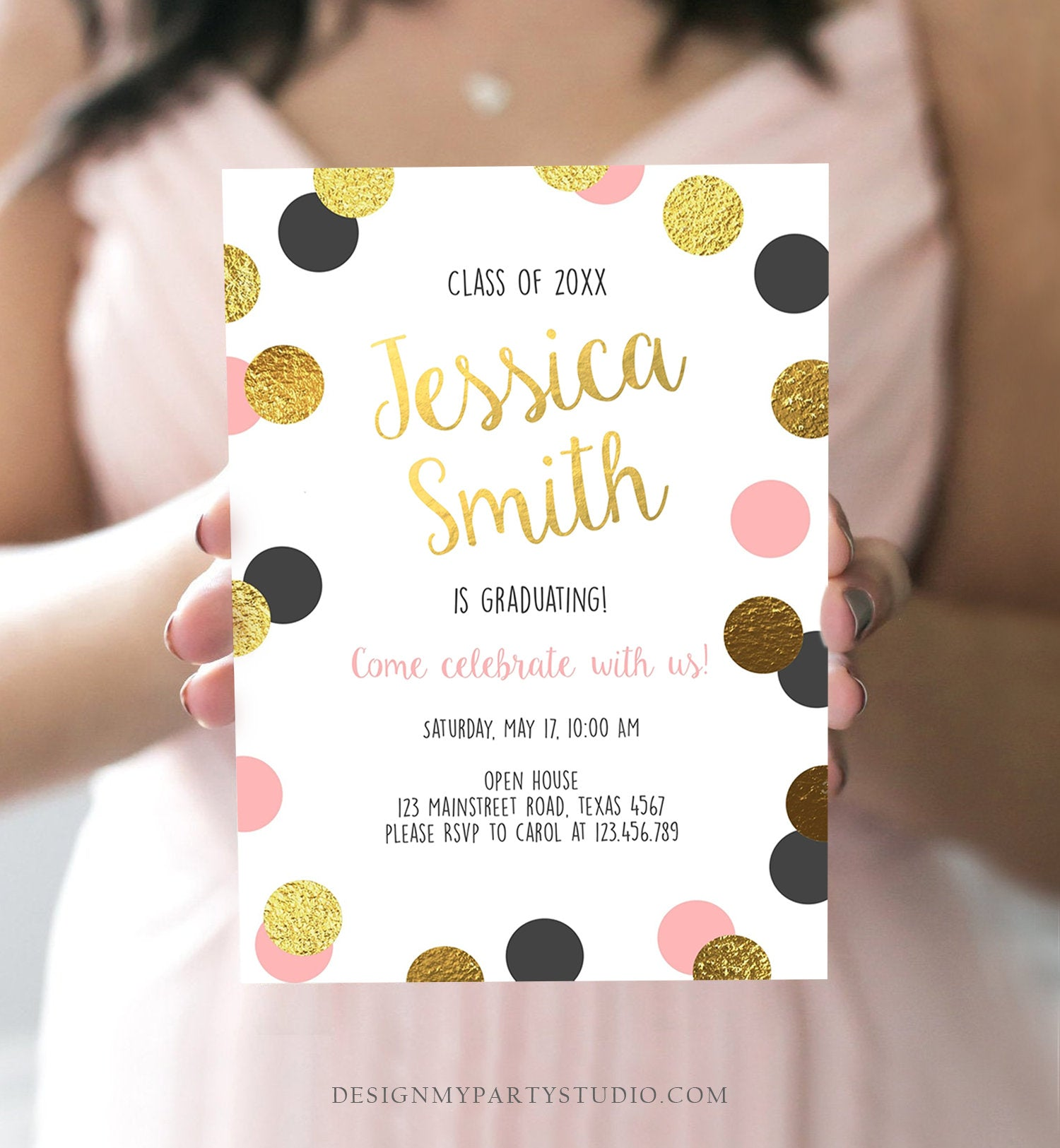Editable Graduation Party Invitation Gold Pink Girl Polka Dots Glamorous College High School Grad Download Corjl Template Printable 0304