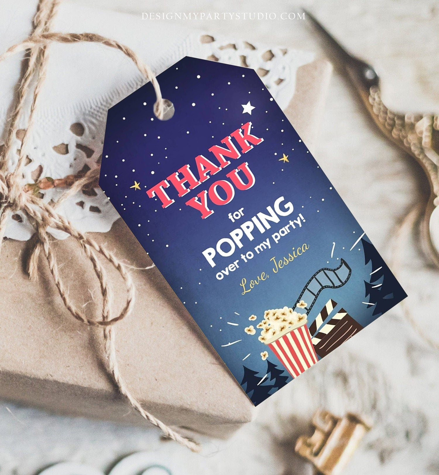 Editable Favor Tags Movie Night Thank you Gift Tags Cinema Movie Under The Stars Popcorn Backyard Movie Party Template PRINTABLE Corjl 0177