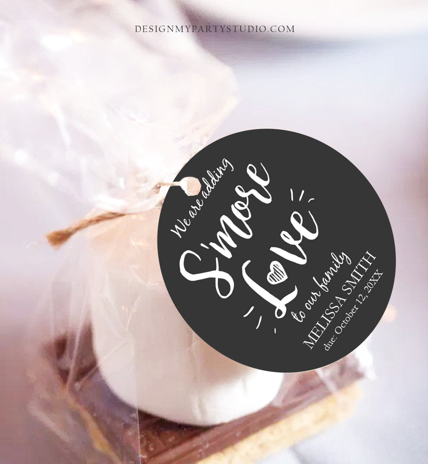 Editable Smore Love Favor Tag We Are Adding S'more Love To Our Family Square Round Baby Shower Favors Download Corjl Template PRINTABLE 0276