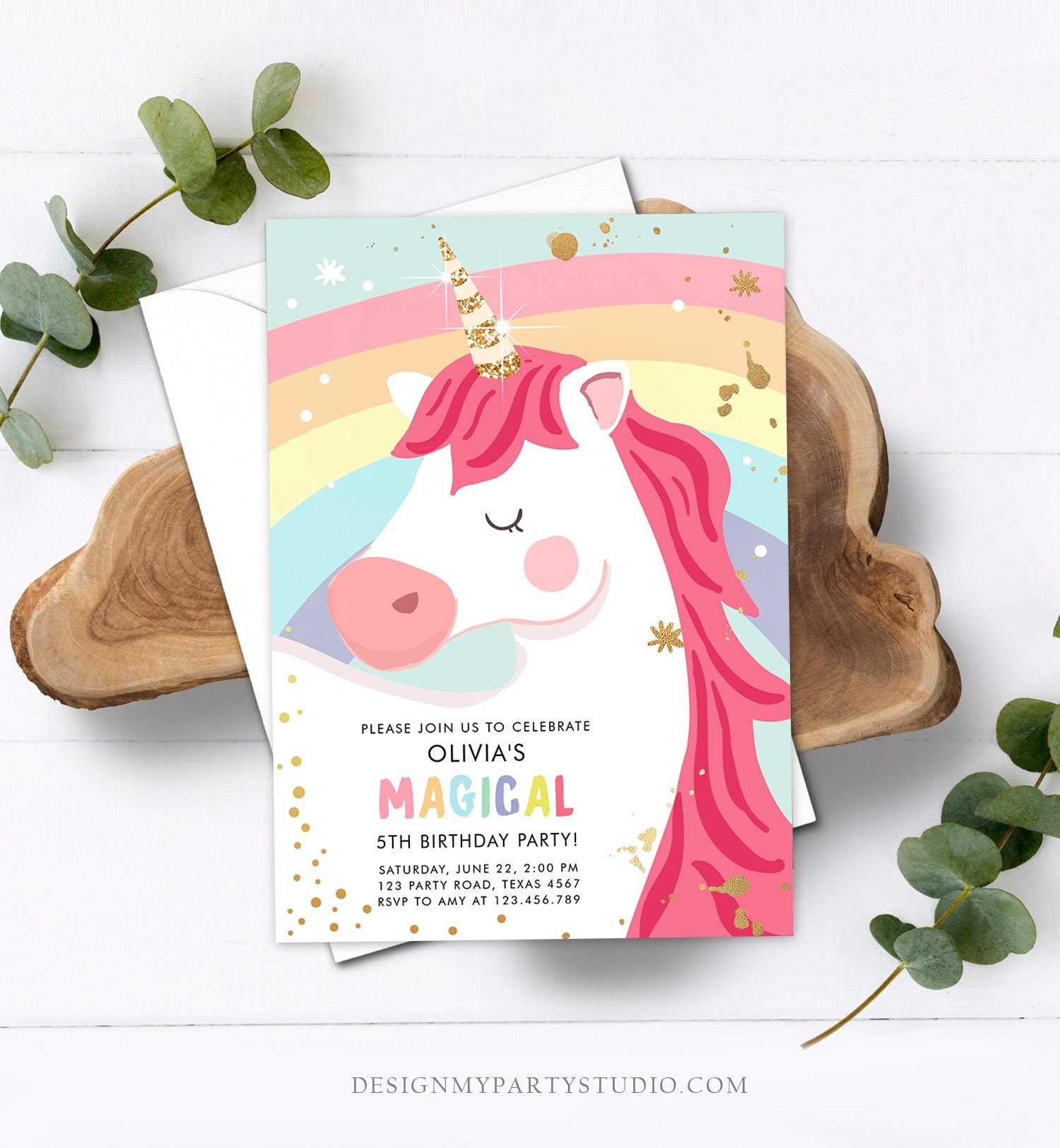 Editable Unicorn Birthday Invitation Unicorn Party Girl Pink Gold Magical Unicorn Invite Rainbow Corjl Template Digital 0323