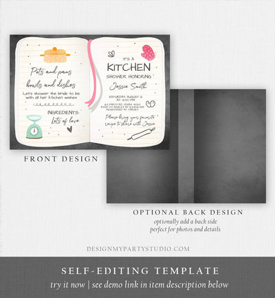 Editable Kitchen Bridal Shower Invitation Cooking Invite Stock the Kitchen Baking Birthday Chef Download Printable Template Corjl 0219